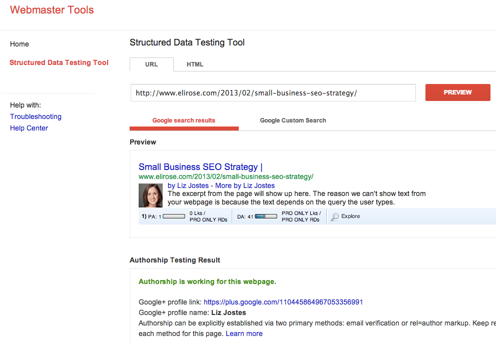 Google Authorship Tool & Google Personal Search Results
