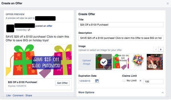 Facebook Offer Preview