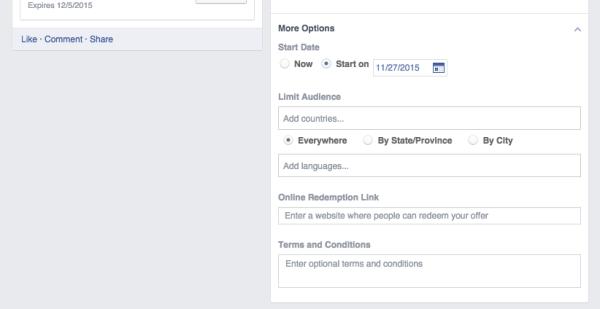 Facebook Offer Details