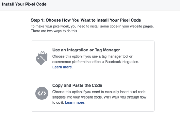 Copy and paste Facebook pixel code