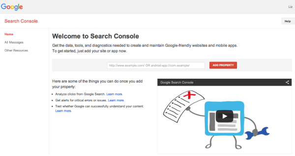 Welcome to Google's Search Console