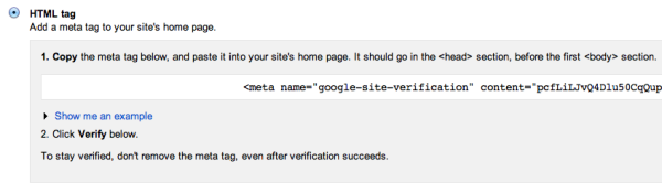 Verify site with Search Console using HTML tag
