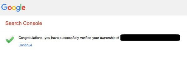 successful verification of site in google's search console