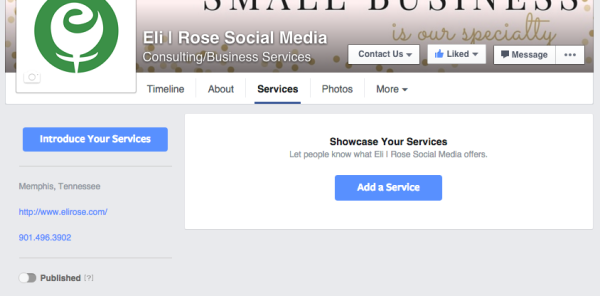 Showcase your Services on your Facebook Business Page