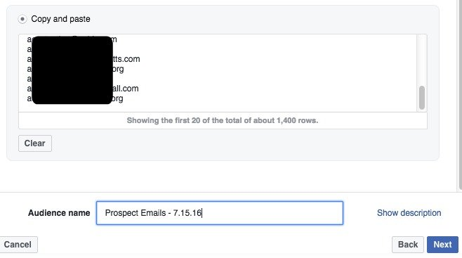 Copy paste emails Facebook Custom Audience