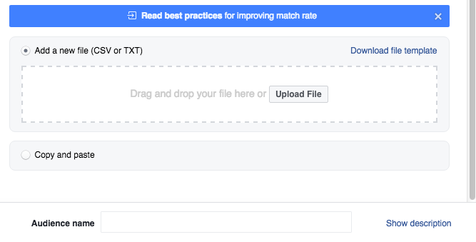 Upload email CSV or TXT file to create Facebook custom audience
