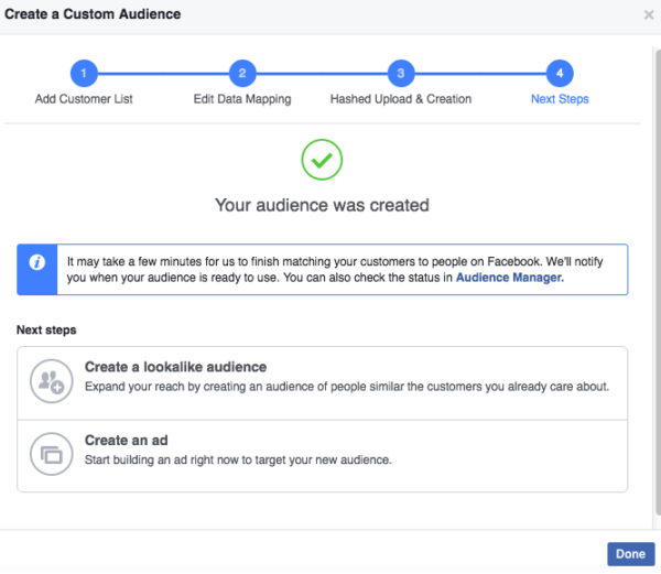 Success creating Facebook custom audience from email file