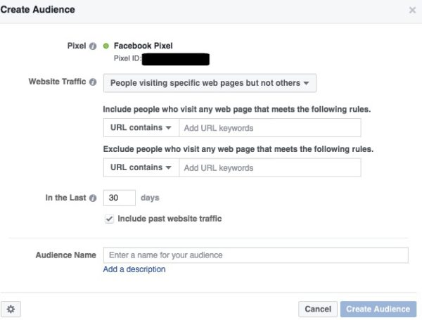Facebook Custom Audience URL contains