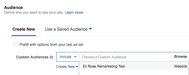 Choose Custom Audience for Facebook Ads