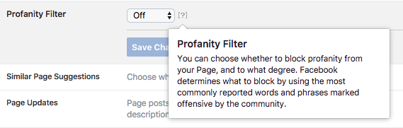 Facebook Page Profanity Filter