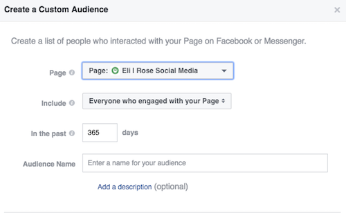 Set up Facebook Page Engagement Audience settings