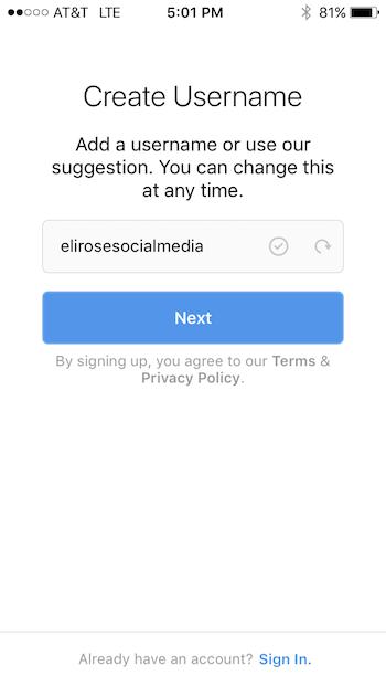 Create Instagram Username