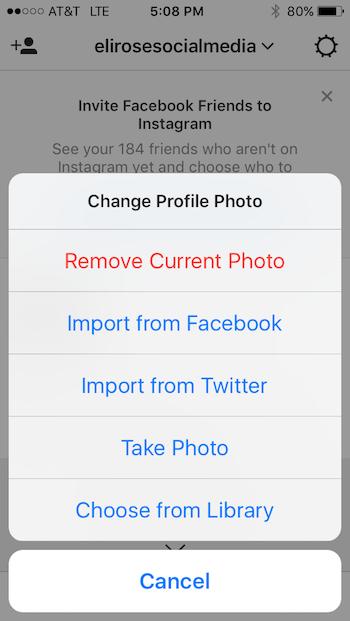 Upload Instagram Profile Photo