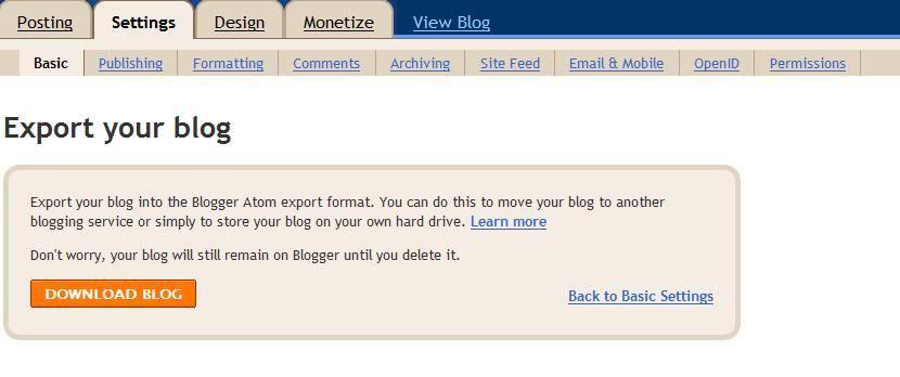Blogger, blog backup