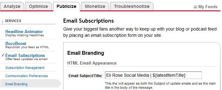 Customizing your Feedburner Email Feed