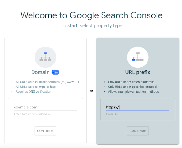 Choose property type to setup in Search Console