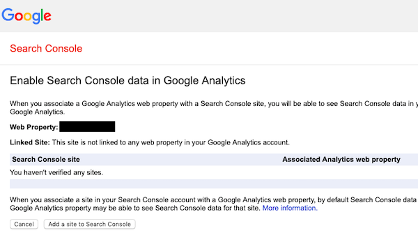 Enable Search Console data by verifying your site