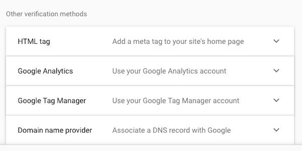 Google console verification methods