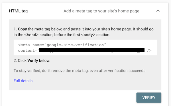 HTML tag for Google Console verification