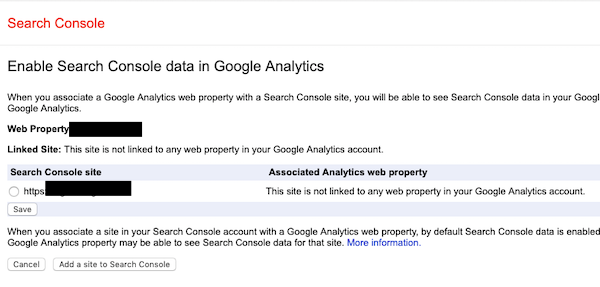 Link Google Search Console account with Google Analytics property
