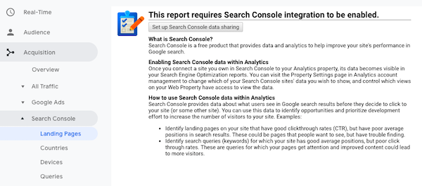 Set up Google Search Console from Google Analytics