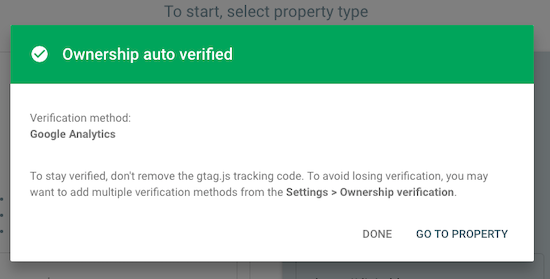 Verify Search Console with Google Analytics
