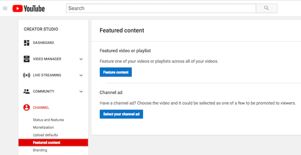 YouTube Featured Content Tab