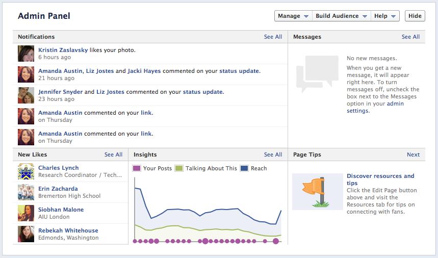 Facebook-fan-page-admin-panel