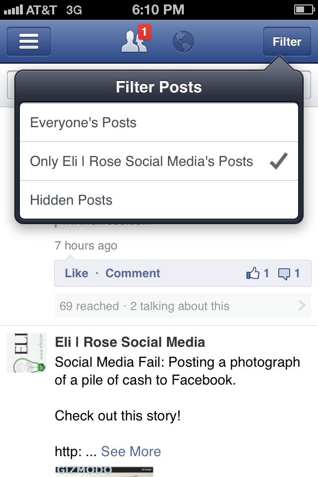 Facebook-Manager-Filter-Posts | Eli Rose Social Media