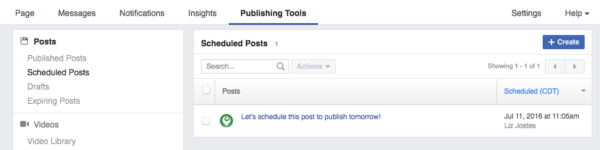 Facebook Page Publishing Tools