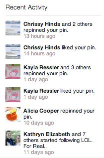 Pinterest-recent-activity-log