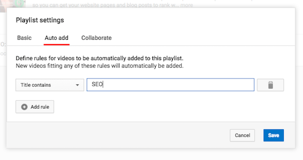 YouTube Playlist Auto Add Settings