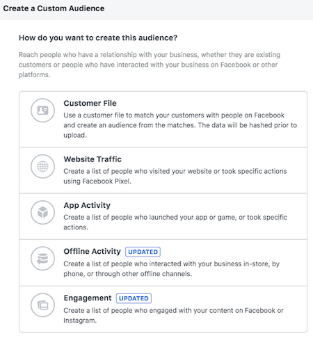 Choose type of Facebook custom audience
