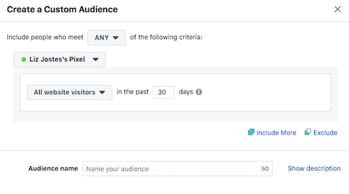 create all visitor website custom audience Facebook