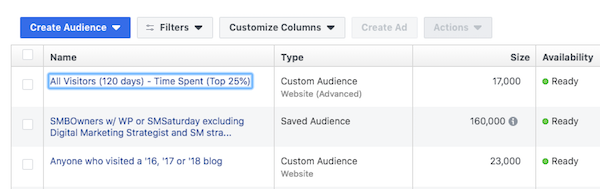 facebook website custom audience available to use