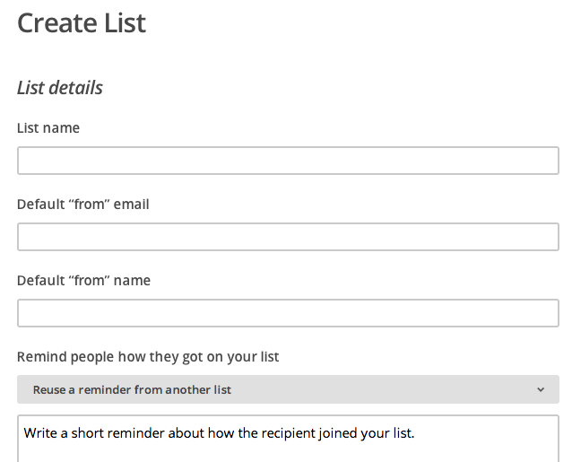 Create a New List of Email Subscribers in MailChimp