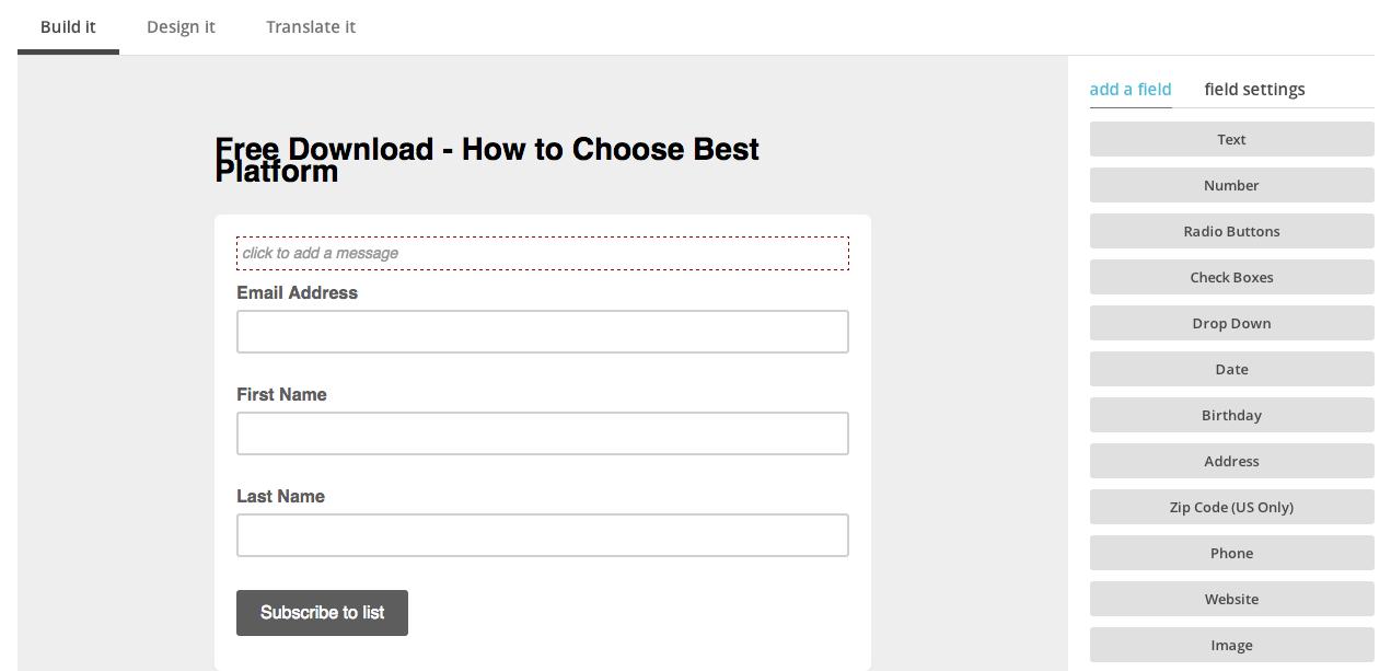 Design your MailChimp Signup Form
