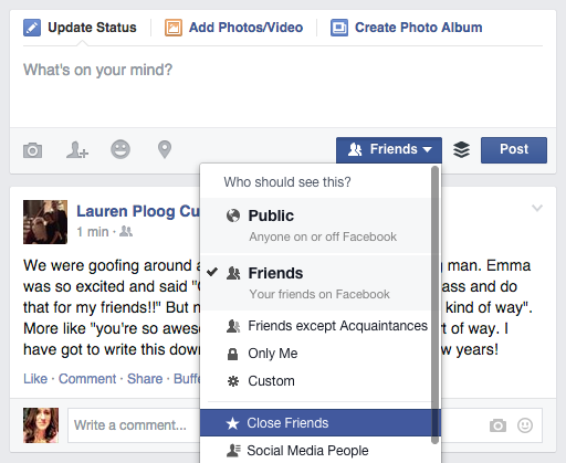 How to post to a specific Facebook Friends list