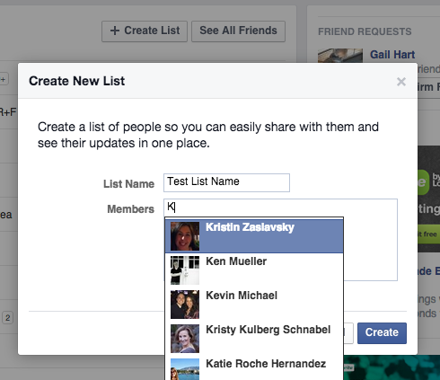 Create Facebook Friends List