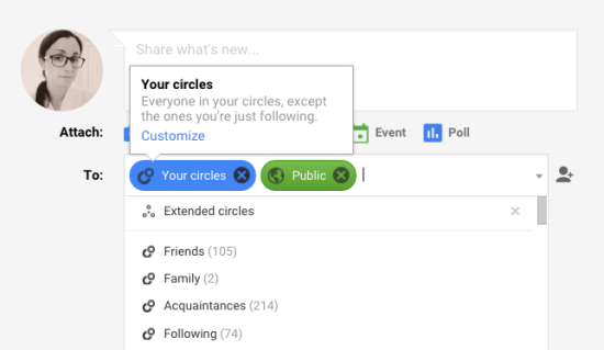 How to post to a Google Plus Circle