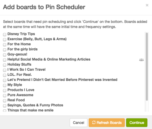 Choose Pinterest Boards to use with BoardBooster