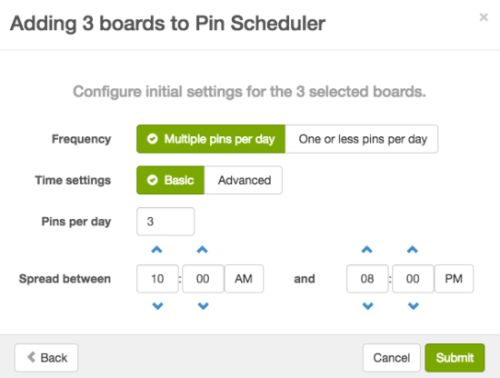 Configure BoardBooster Pin Scheduler initial settings