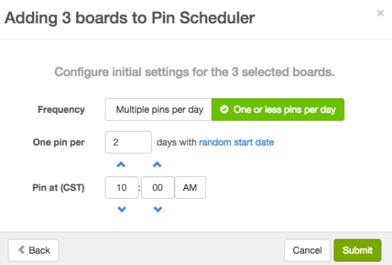 One or less pin a day schedule