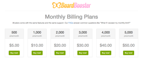 Boardbooster monthly billing plan