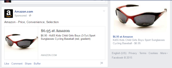 Facebook Retargeting Ads from Amazon