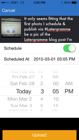 Scheduling through Latergramme app