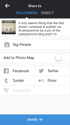 Choose Instagram share settings and edit caption before publishing