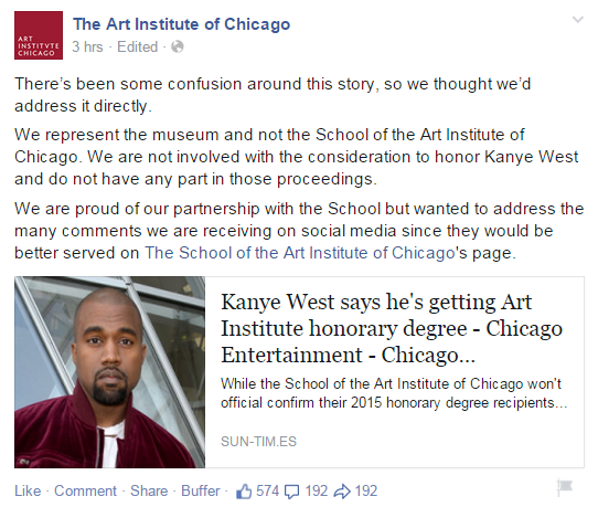 Kanye West Art Institute Honorary Degree rumor