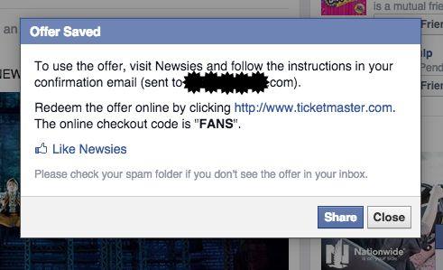 Facebook Offer Saved