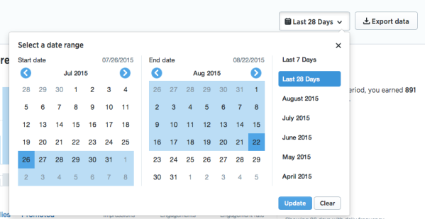 Select date range for Twitter analytics